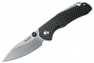 Ruike P671-CB Noir Couteau de poche lame acier 14C28N manche G10 et fibre de carbone